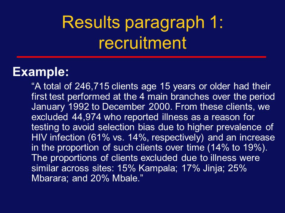 Results paragraph 1: recruitment Number of persons approached  Where  When Number of persons eligible  Why any excluded Number of persons enrolled  Reasons for refusal Differences between cases and controls Differences between intervention and control arms