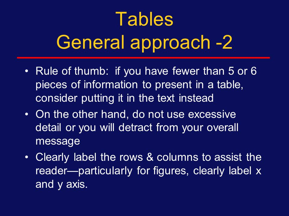 Tables General approach Complicated studies – particularly randomized trials – need an initial figure illustrating recruitment, proportion eligible, refused, dropped out, randomized, followed Table 2: Initial bivariate results – relationships between predictors and outcome.