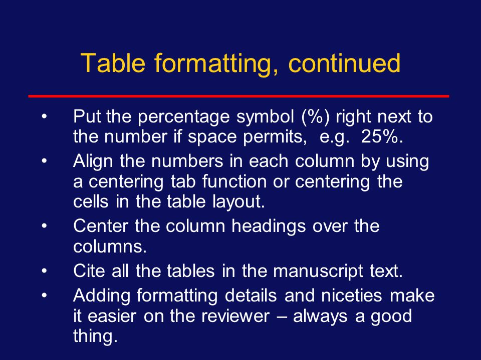 Table formatting Rules for table details will be determined by the journal --- look at tables published in the journal you have chosen for examples and follow that format.