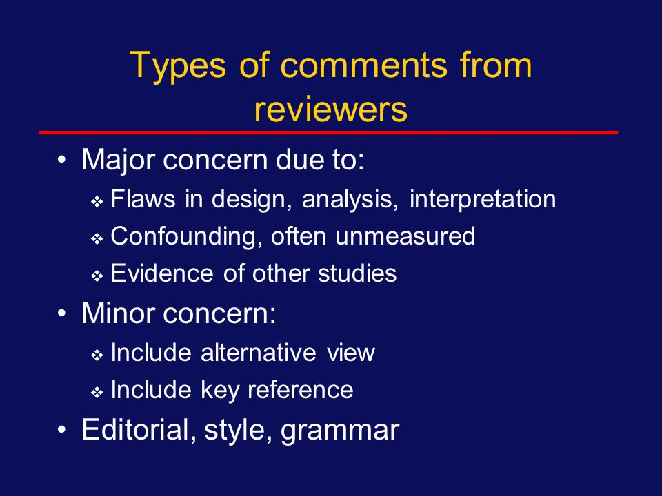 Under review Usually 2 reviewers, sometimes 3, plus editor Online submission indicates status  Sent to review or not If under review for greater than 4 months, contact journal  Reviewer late  Lost article  Editor can't decide