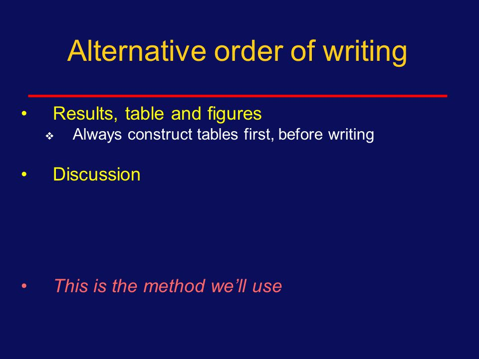Alternative order of writing Introduction first  Use background section of your research protocol  Use this system if you need to research the literature to understand importance or context of primary findings.