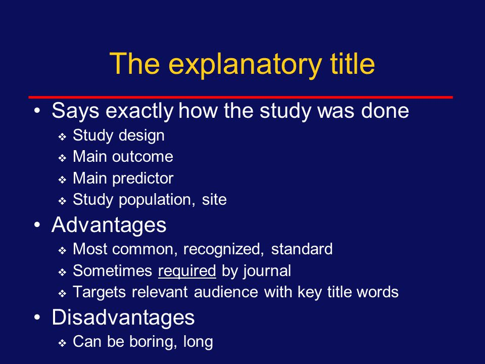 Types of titles Explanatory Interrogatory Declarative Cute and Catchy