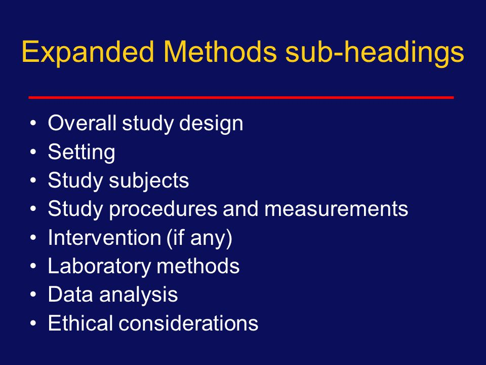 Minimal Methods sub-headings Subjects Measurements Analysis