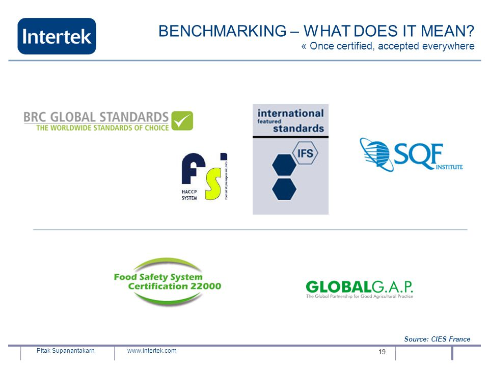www.intertek.com Pitak Supanantakarn 19 BENCHMARKING – WHAT DOES IT MEAN? « Once certified, accepted everywhere Source: CIES France