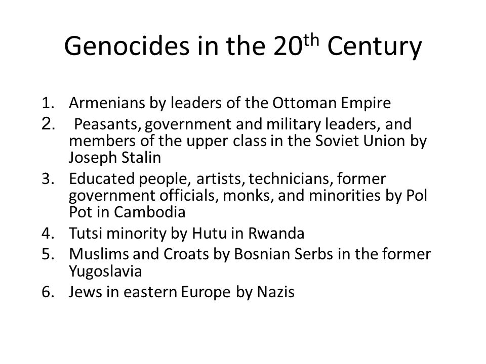 Station Activity For each of the 6 Genocides, you will work with your group to: – Analyze quotes/pictures – Take notes – dates, murderers, group killed, number of people killed – Classify genocide according to type – Locate the genocide on a map (book work)
