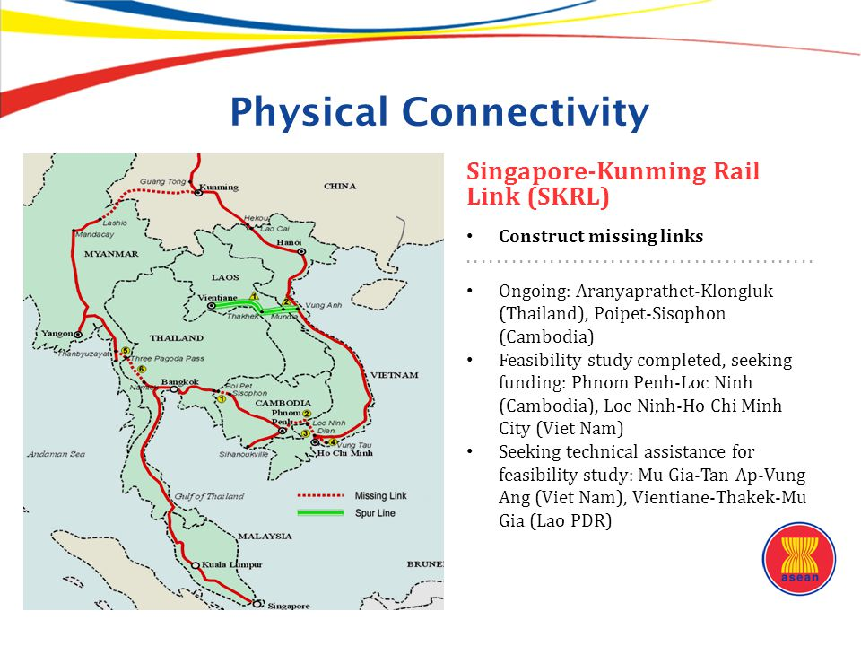 Physical Connectivity Singapore-Kunming Rail Link (SKRL) Construct missing links....................... Ongoing: Aranyaprathet-Klongluk (Thailand), Po