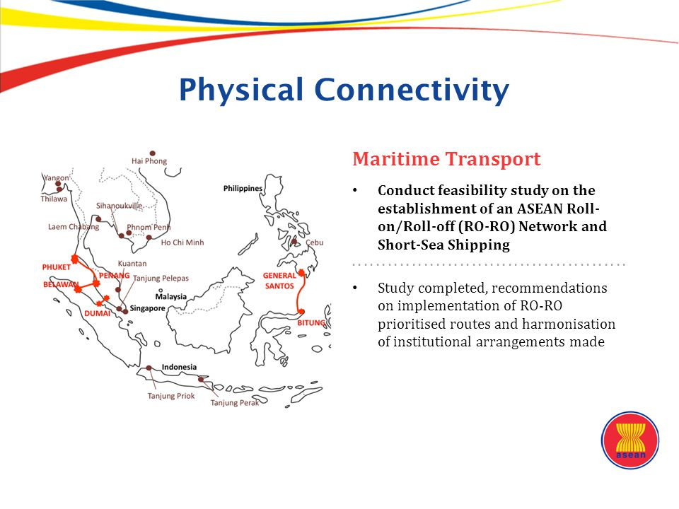 Physical Connectivity Maritime Transport Conduct feasibility study on the establishment of an ASEAN Roll- on/Roll-off (RO-RO) Network and Short-Sea Sh