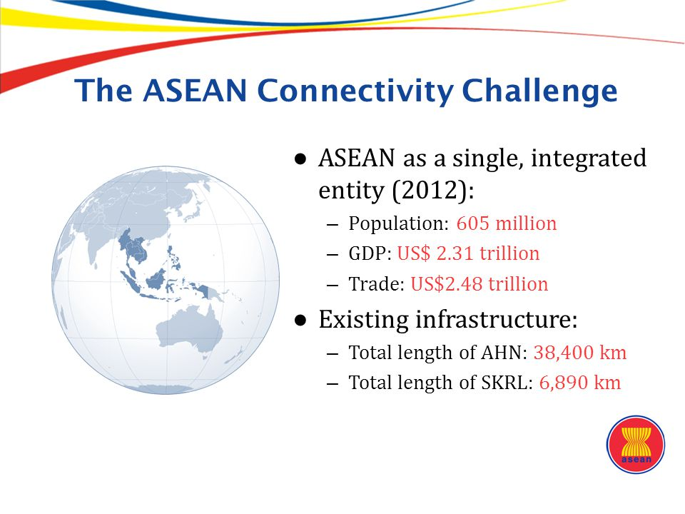 The ASEAN Connectivity Challenge ● ASEAN as a single, integrated entity (2012): – Population: 605 million – GDP: US$ 2.31 trillion – Trade: US$2.48 tr