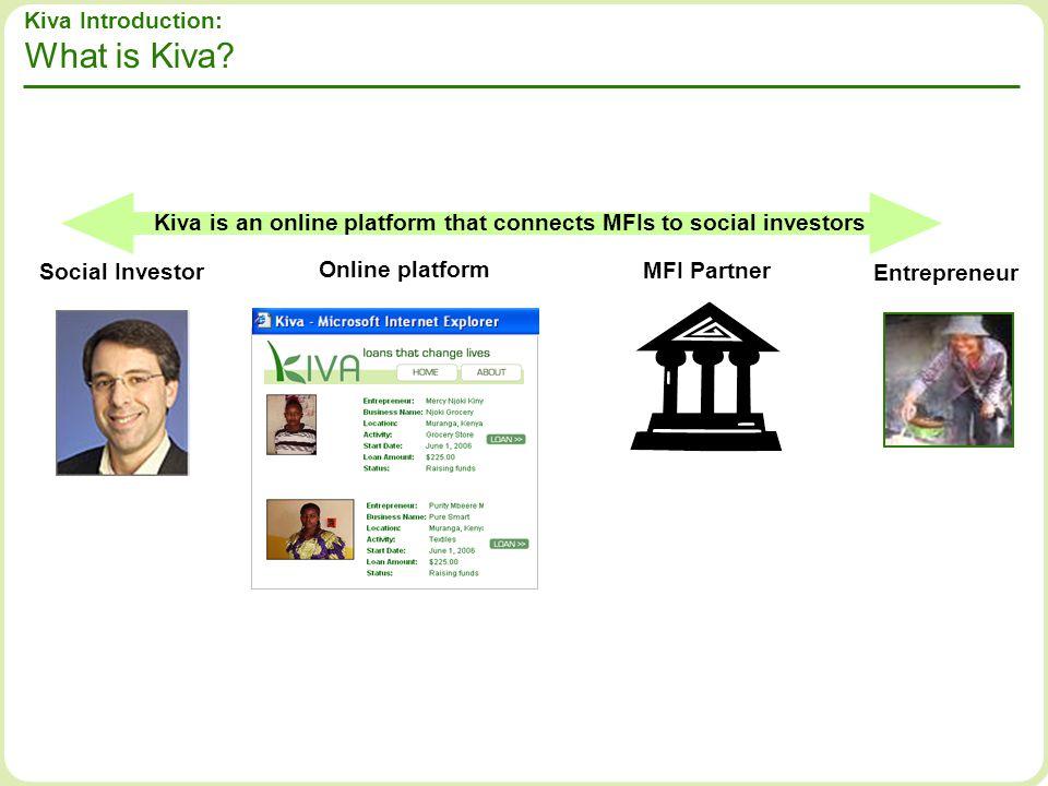 Social Investor Online platform MFI Partner Entrepreneur Kiva Introduction: What is Kiva? Kiva is an online platform that connects MFIs to social inve