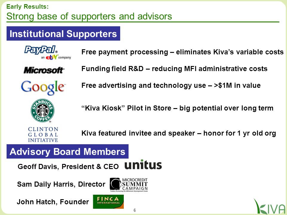 6 Early Results: Strong base of supporters and advisors Institutional Supporters Advisory Board Members Geoff Davis, President & CEO Sam Daily Harris,