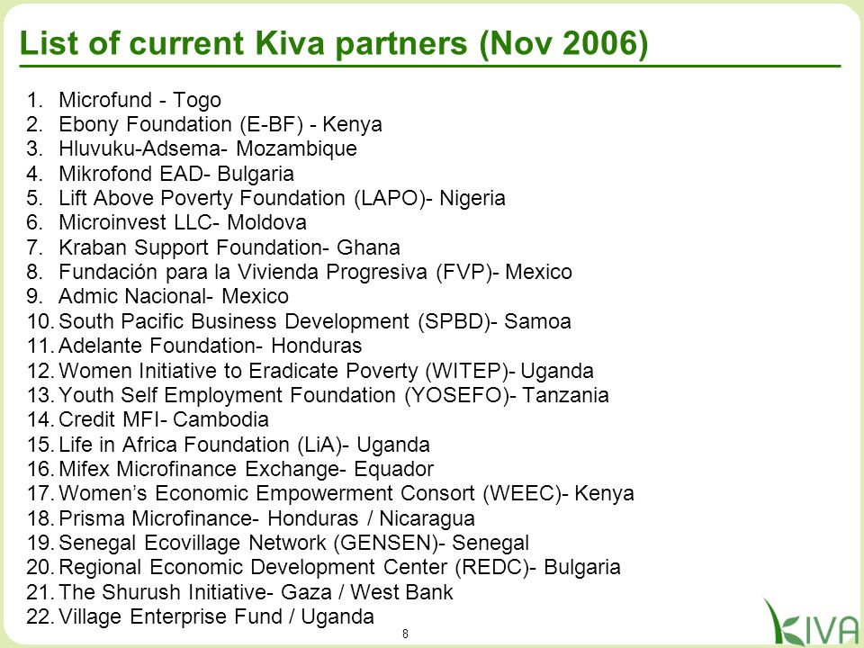 8 List of current Kiva partners (Nov 2006) 1.Microfund - Togo 2.Ebony Foundation (E-BF) - Kenya 3.Hluvuku-Adsema- Mozambique 4.Mikrofond EAD- Bulgaria