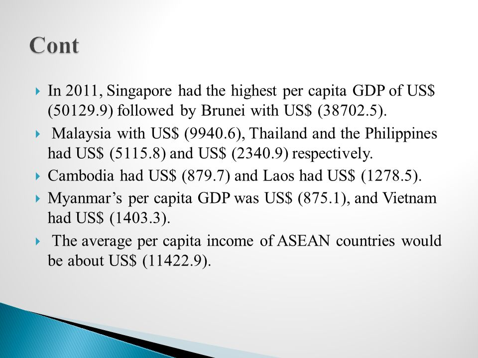 Country31-1-200231-1-2013 Number of Projects Amount (US$ million) % of Total Investment Number of Projects Amount (US$ million) % of Total Investment Brunei---23.040.007 Singapore701541.620.8832167.05.2 Malaysia31151.12.0431031.32.5 Indonesia11240.03.212241.50.6 Thailand491290.217.4619568.122.9 The Philippines2146.71.92146.70.4 Cambodia------ Lao PDR------ Vietnam---5361.80.9 Table (2.3) Foreign Direct Investment Flow into Myanmar from ASEAN Source: Directorate of Company Administration and Investment, Ministry of National Planning and Economic Development.