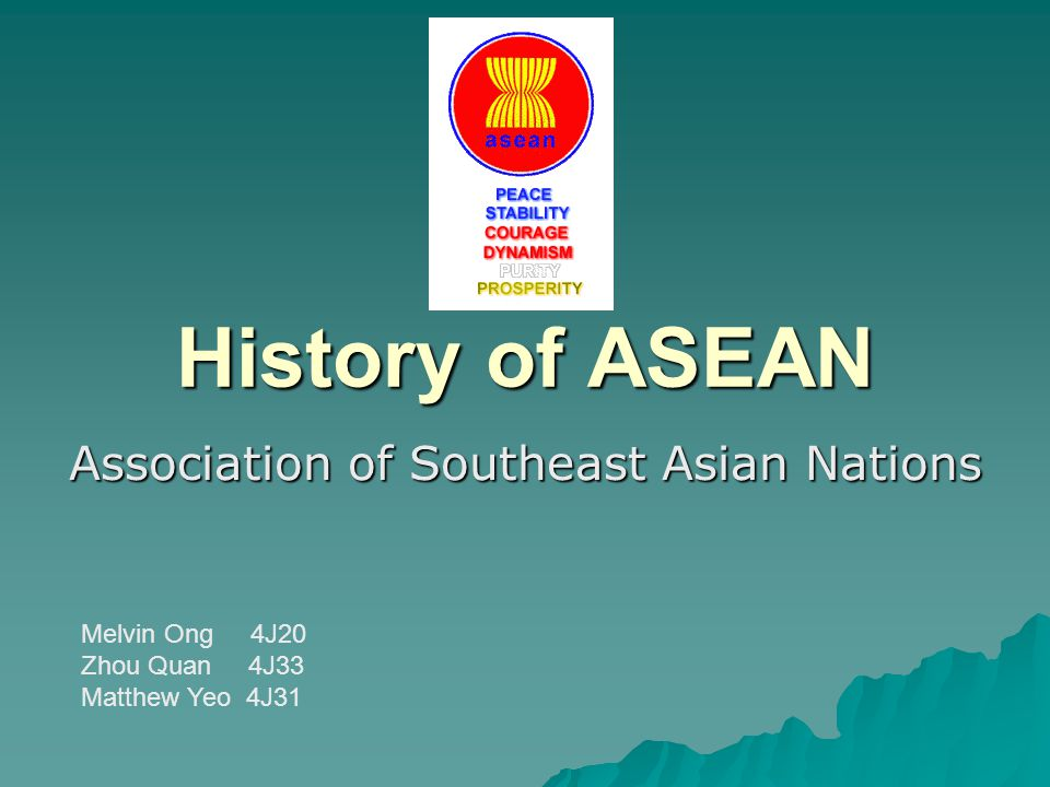 Background  Preceded organization –Association of Southeast Asia, established in 1961 –consisting of only 3 countries (Thailand, Malaysia, Philippines)  Prior to 1967, no regional association included most of the countries of Southeast Asia  1963 o ties between Malaysia and Indonesia strained during the Confrontation in Malaysia o Philippines broke off ties with Malaysia due to its claim over Sabah  1967: leaders of 5 Southeast Asian countries realized it would be better to co-operate, rather than be at odds with each other