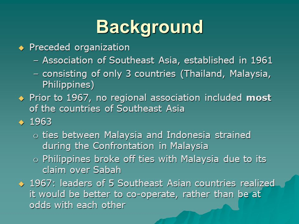Establishment of ASEAN Aims and Objectives of ASEAN Early beginnings of ASEAN