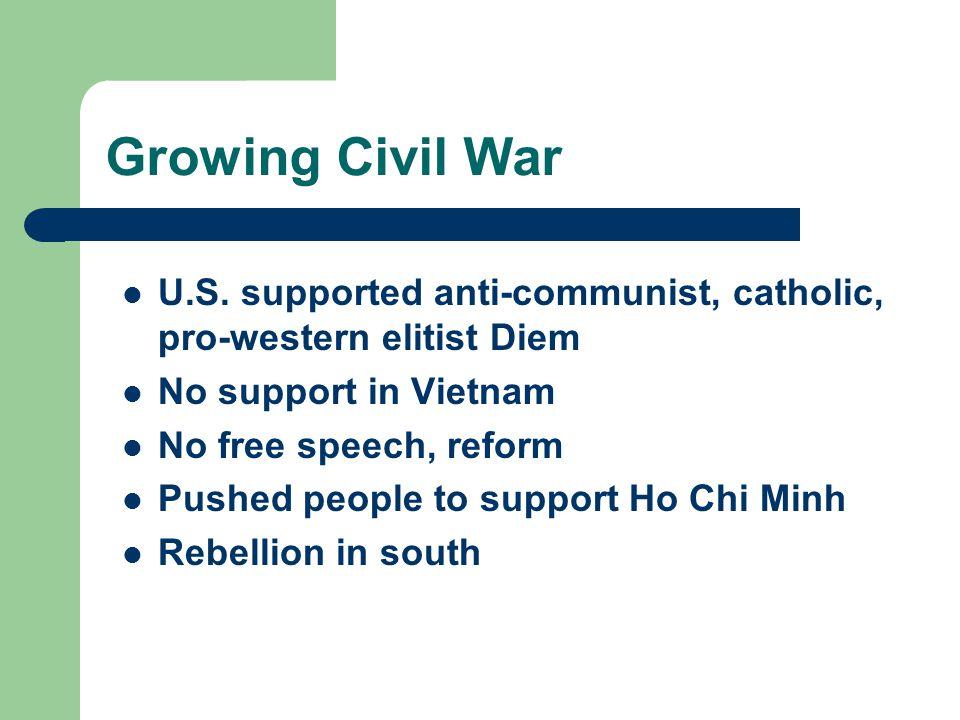 Growing Civil War U.S. supported anti-communist, catholic, pro-western elitist Diem No support in Vietnam No free speech, reform Pushed people to supp