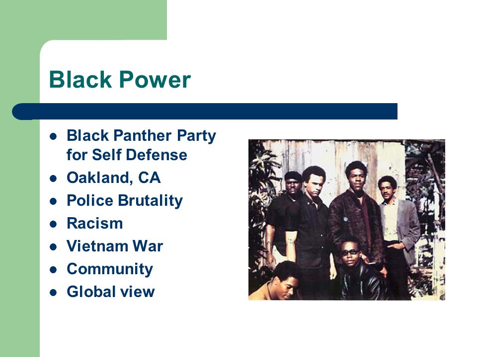 Black Power Black Panther Party for Self Defense Oakland, CA Police Brutality Racism Vietnam War Community Global view