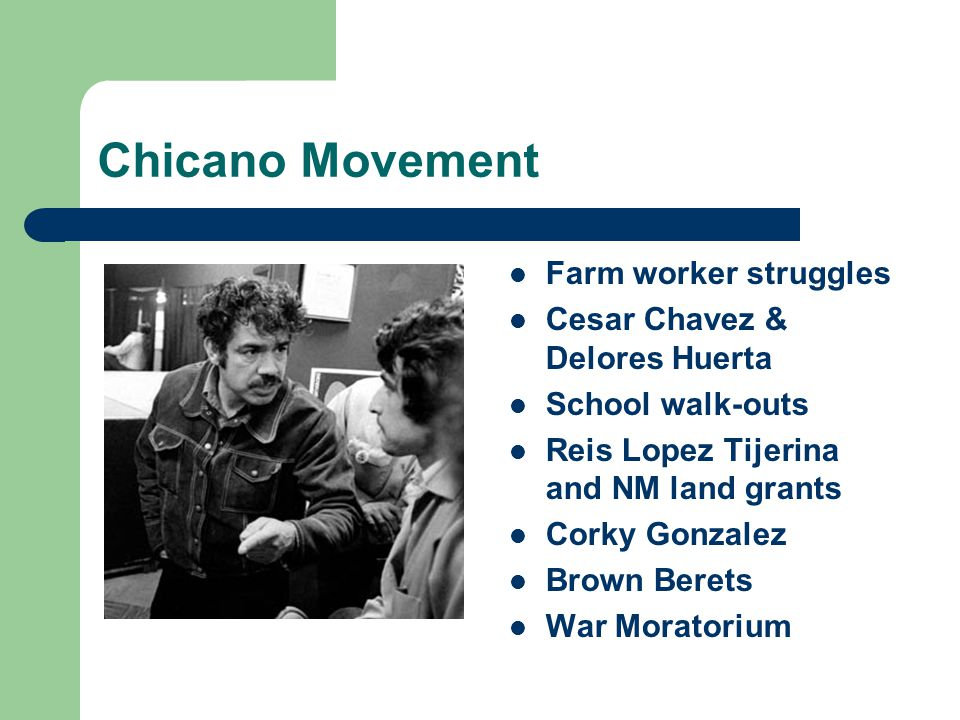 Chicano Movement Farm worker struggles Cesar Chavez & Delores Huerta School walk-outs Reis Lopez Tijerina and NM land grants Corky Gonzalez Brown Berets War Moratorium