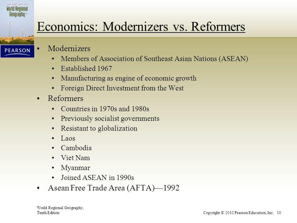 World Regional Geography, Tenth EditionCopyright © 2010 Pearson Education, Inc. 10 Economics: Modernizers vs. Reformers Modernizers Members of Associa