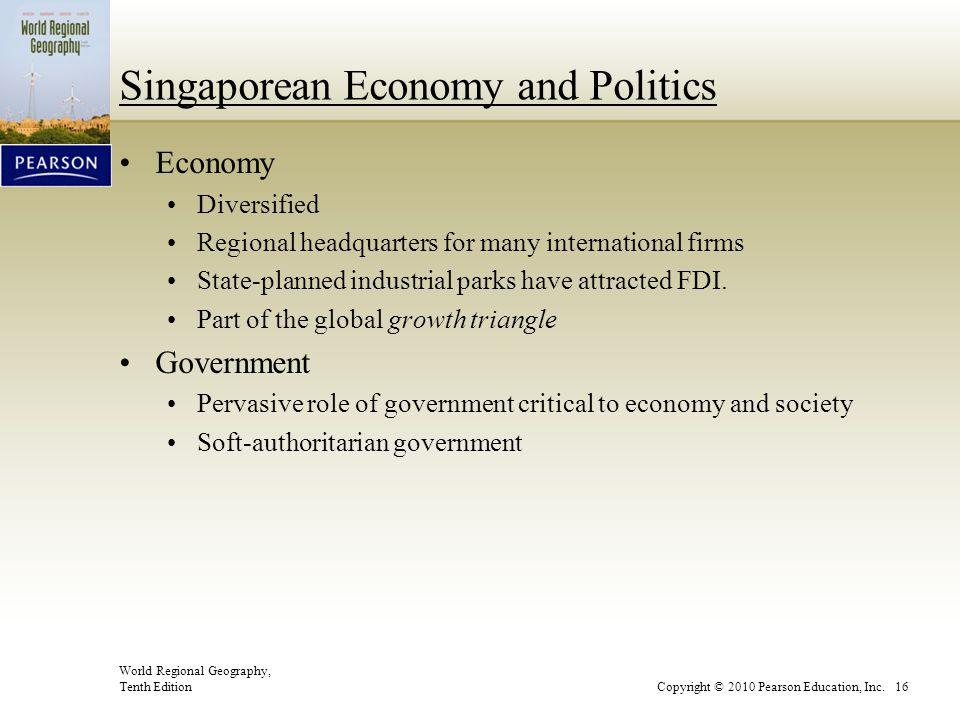World Regional Geography, Tenth EditionCopyright © 2010 Pearson Education, Inc. 16 Singaporean Economy and Politics Economy Diversified Regional headq