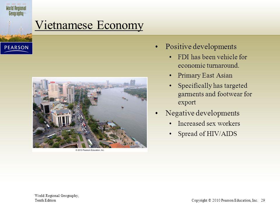 World Regional Geography, Tenth EditionCopyright © 2010 Pearson Education, Inc. 29 Vietnamese Economy Positive developments FDI has been vehicle for e