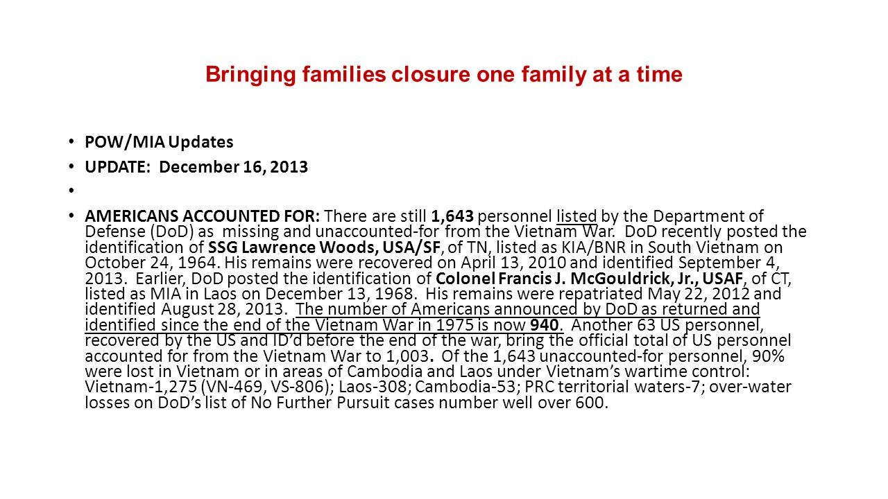 Bringing families closure one family at a time POW/MIA Updates UPDATE: December 16, 2013 AMERICANS ACCOUNTED FOR: There are still 1,643 personnel list