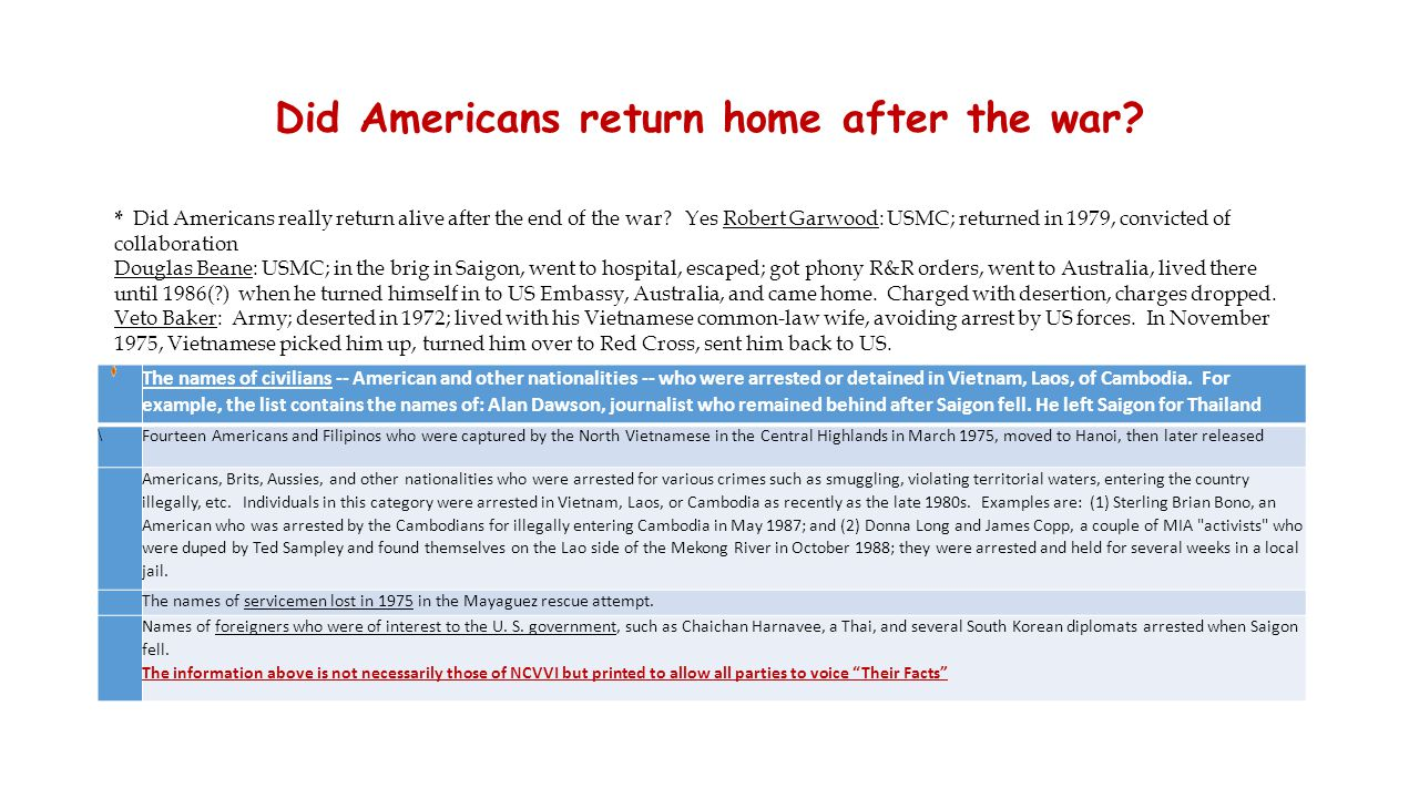 Did Americans return home after the war? The names of civilians -- American and other nationalities -- who were arrested or detained in Vietnam, Laos,