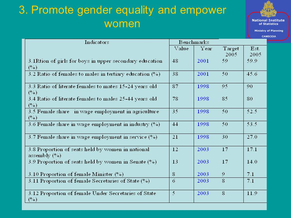 3. Promote gender equality and empower women