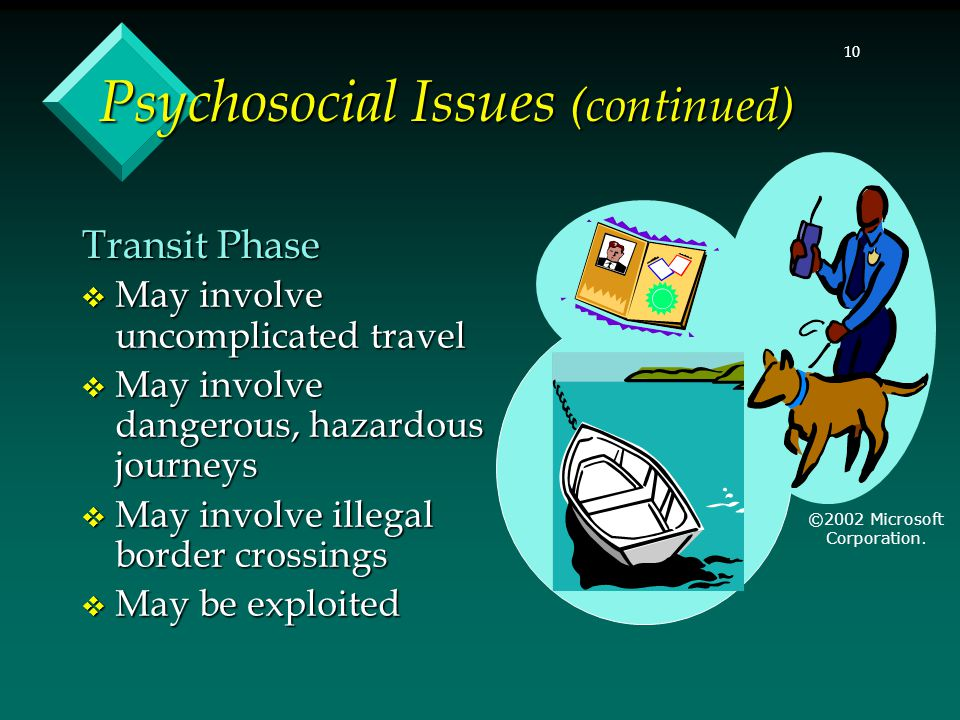 10 Psychosocial Issues (continued)  May involve uncomplicated travel  May involve dangerous, hazardous journeys  May involve illegal border crossin