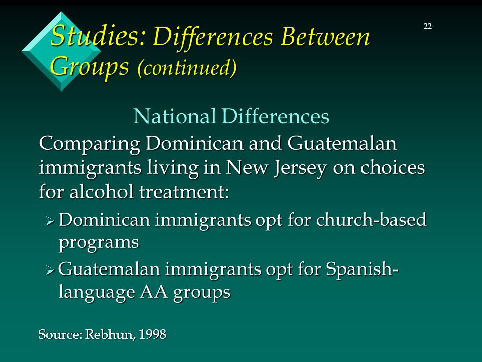 22 Studies: Differences Between Groups (continued) Comparing Dominican and Guatemalan immigrants living in New Jersey on choices for alcohol treatment