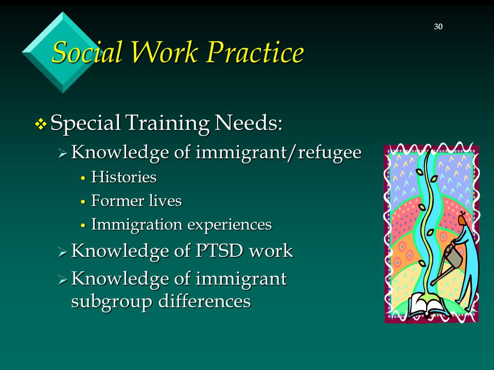 30 Social Work Practice  Special Training Needs:  Knowledge of immigrant/refugee Histories Histories Former lives Former lives Immigration experienc
