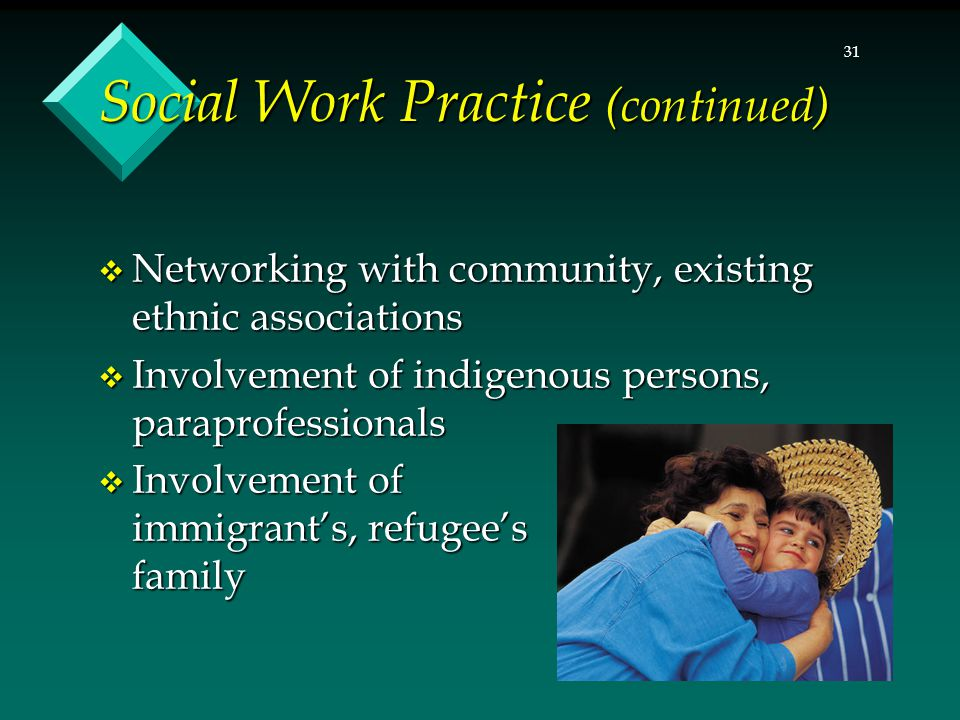 31 Social Work Practice (continued)  Networking with community, existing ethnic associations  Involvement of indigenous persons, paraprofessionals 