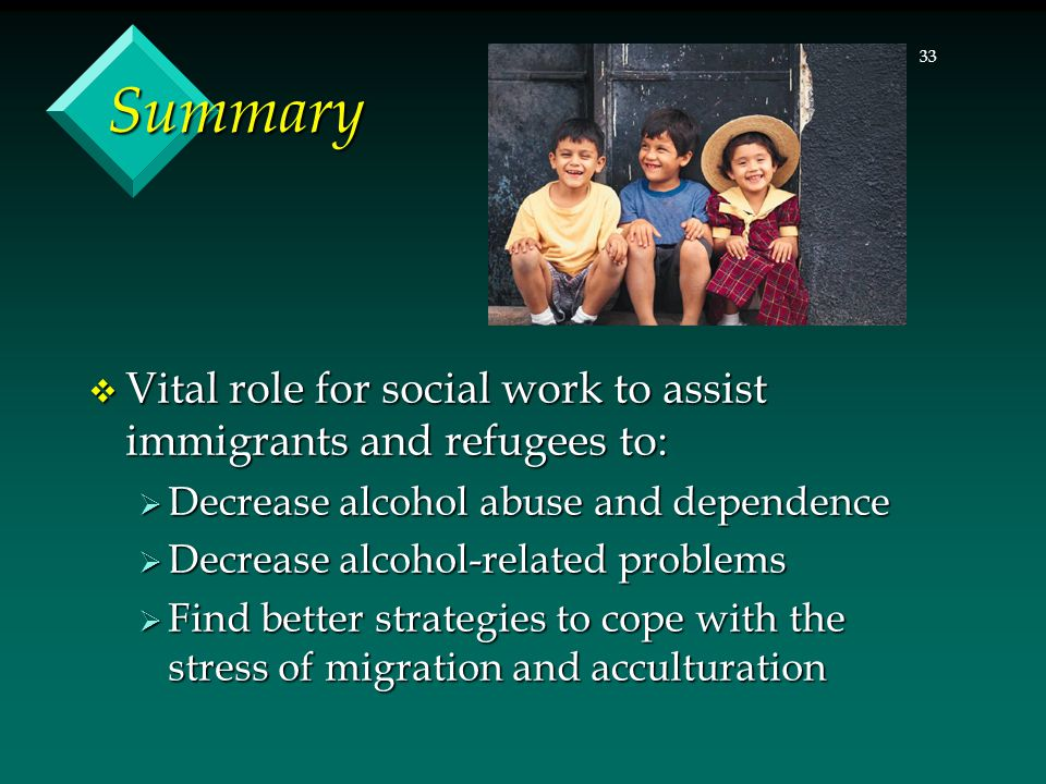 33 Summary  Vital role for social work to assist immigrants and refugees to:  Decrease alcohol abuse and dependence  Decrease alcohol-related probl