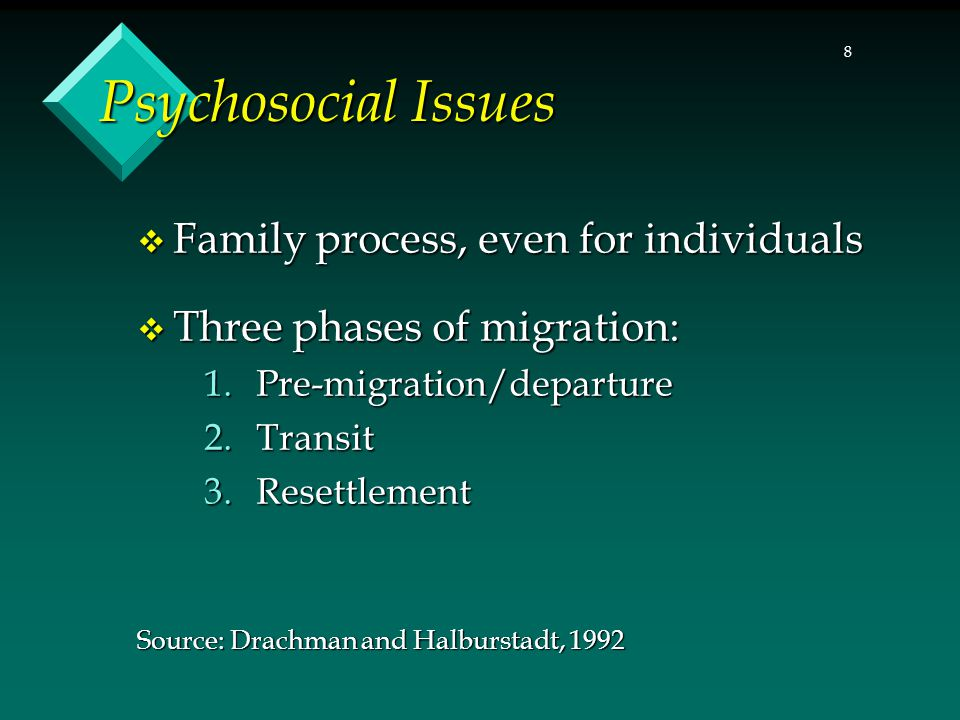 8 Psychosocial Issues  Family process, even for individuals  Three phases of migration: 1.Pre-migration/departure 2.Transit 3.Resettlement Source: D
