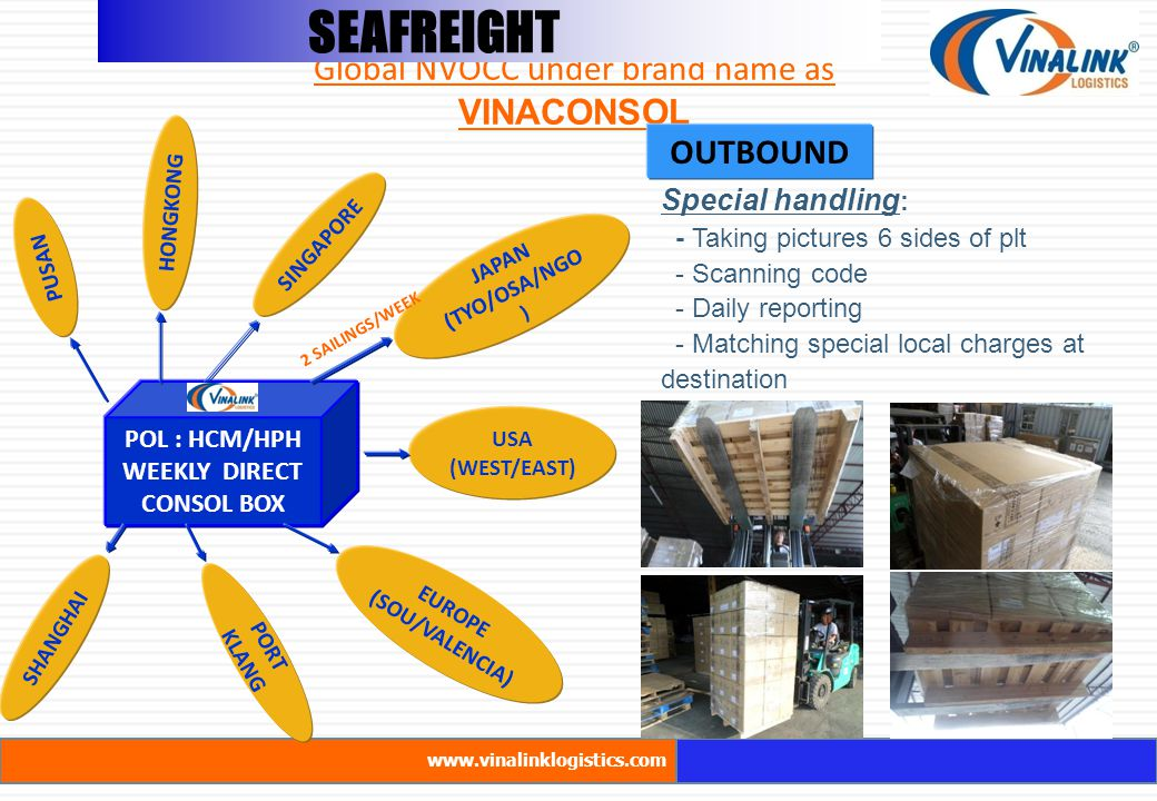 SEAFREIGHT Global NVOCC under brand name as VINACONSOL www.vinalinklogistics.com SEAFREIGHT Special handling : - Taking pictures 6 sides of plt - Scanning code - Daily reporting - Matching special local charges at destination POL : HCM/HPH WEEKLY DIRECT CONSOL BOX JAPAN (TYO/OSA/NGO ) HONGKONG SINGAPORE PUSAN PORT KLANG USA (WEST/EAST) SHANGHAI EUROPE (SOU/VALENCIA) 2 SAILINGS/WEEK OUTBOUND