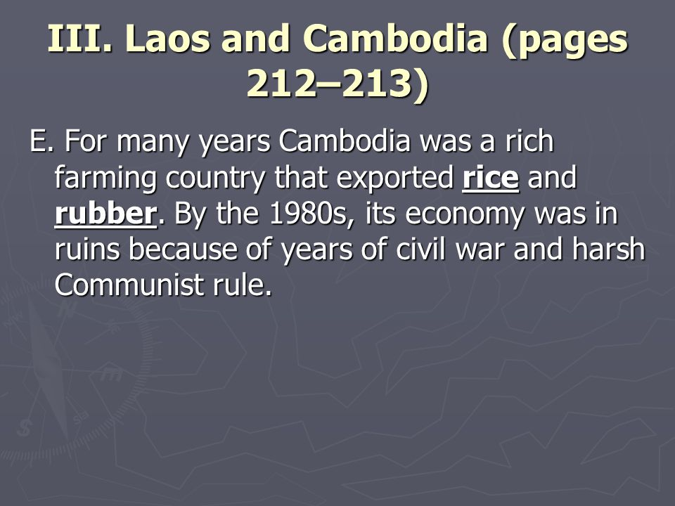 III. Laos and Cambodia (pages 212–213) E.