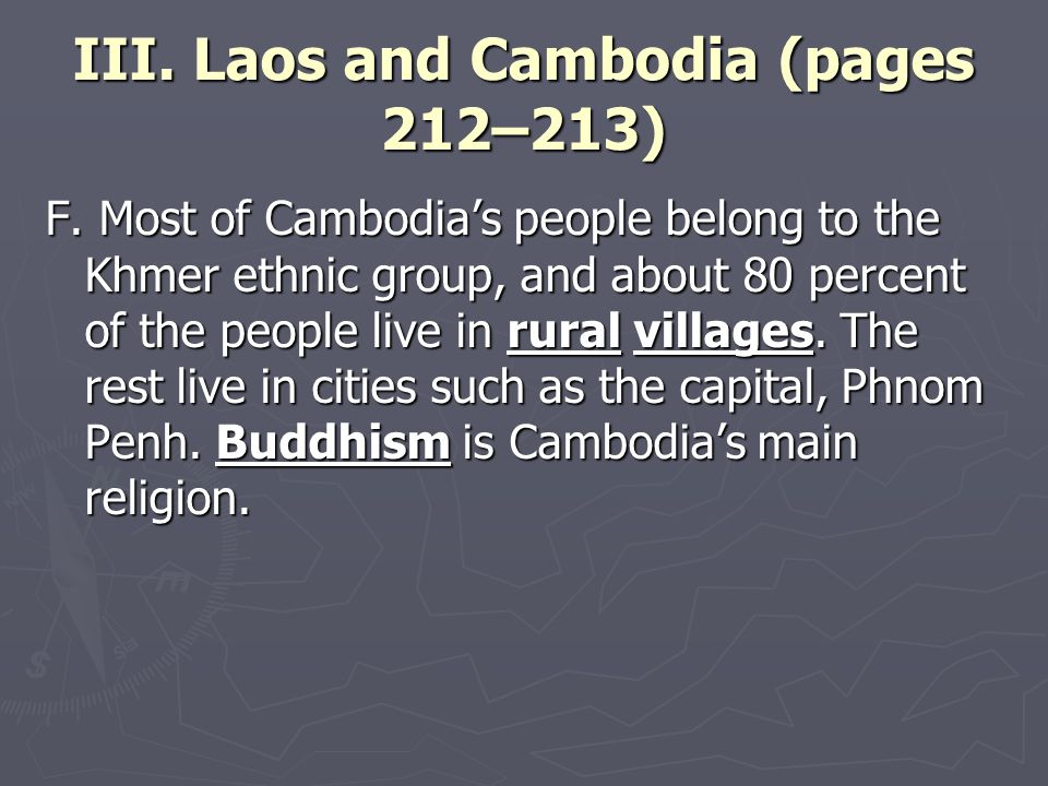 III. Laos and Cambodia (pages 212–213) F.