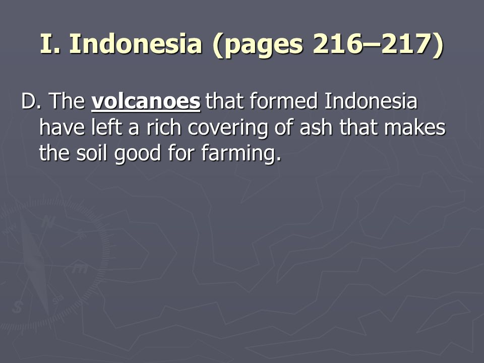 I. Indonesia (pages 216–217) D.