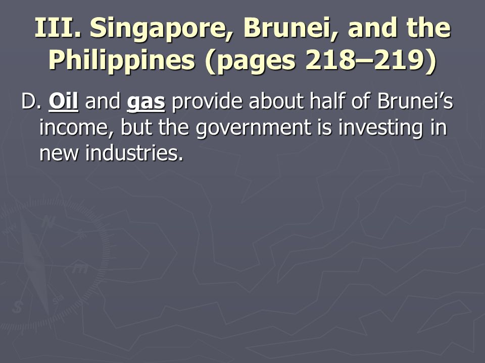 III. Singapore, Brunei, and the Philippines (pages 218–219) D. Oil and gas provide about half of Brunei's income, but the government is investing in n