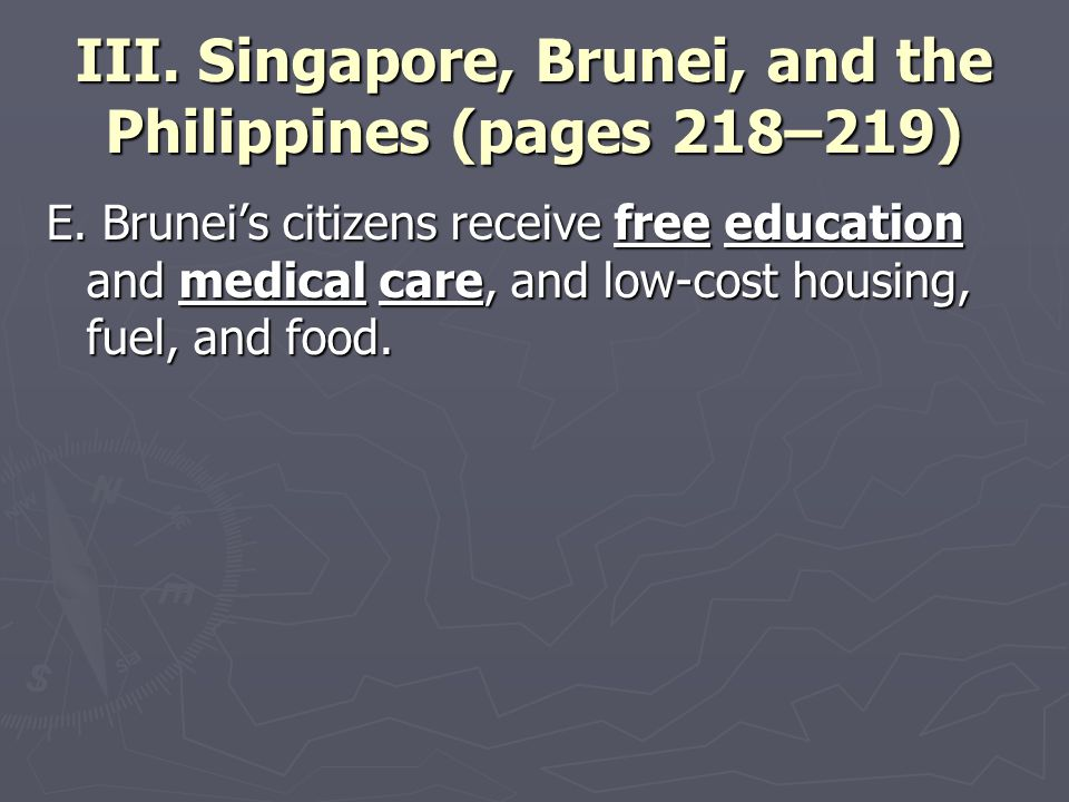 III. Singapore, Brunei, and the Philippines (pages 218–219) E. Brunei's citizens receive free education and medical care, and low-cost housing, fuel,