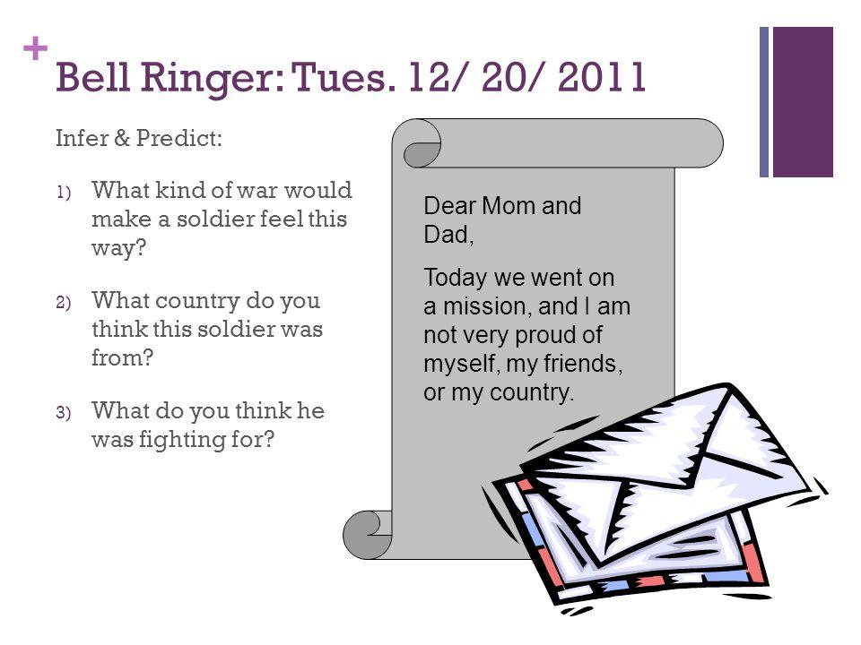 + Bell Ringer: Tues.