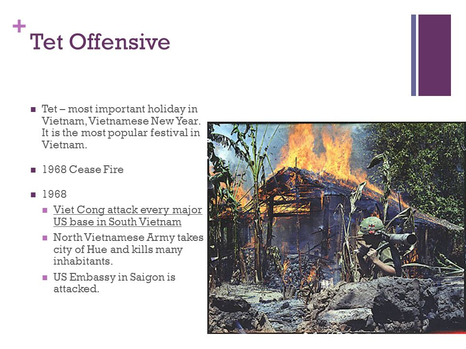+ Tet Offensive Tet – most important holiday in Vietnam, Vietnamese New Year.