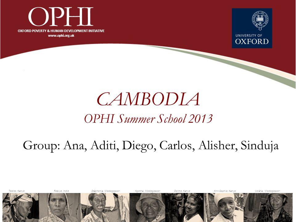 CAMBODIA OPHI Summer School 2013 Group: Ana, Aditi, Diego, Carlos, Alisher, Sinduja