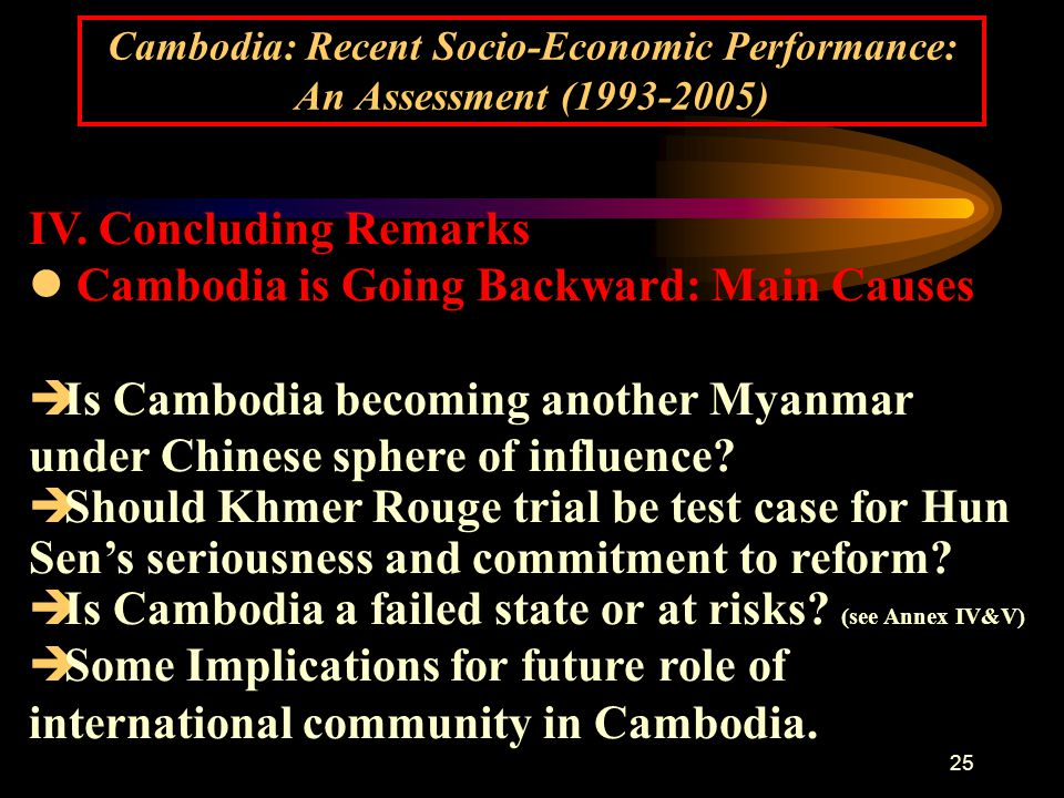 25 Cambodia: Recent Socio-Economic Performance: An Assessment (1993-2005) IV.