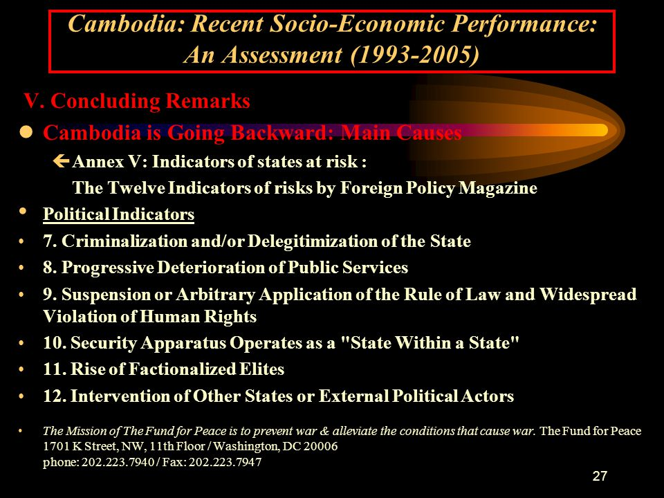 27 Cambodia: Recent Socio-Economic Performance: An Assessment (1993-2005) V.