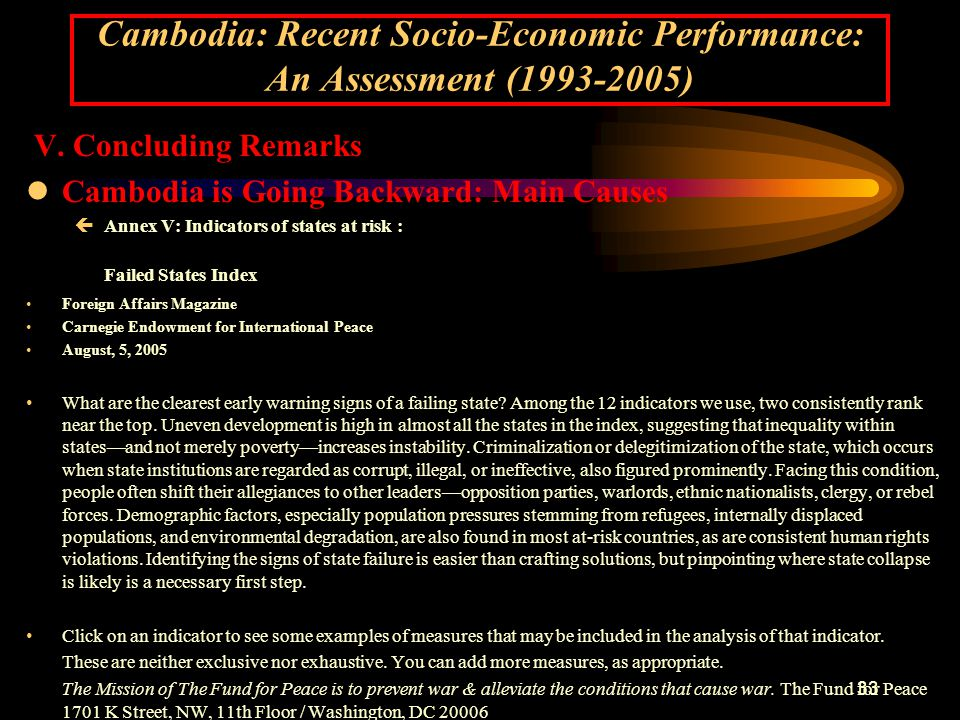 33 Cambodia: Recent Socio-Economic Performance: An Assessment (1993-2005) V.