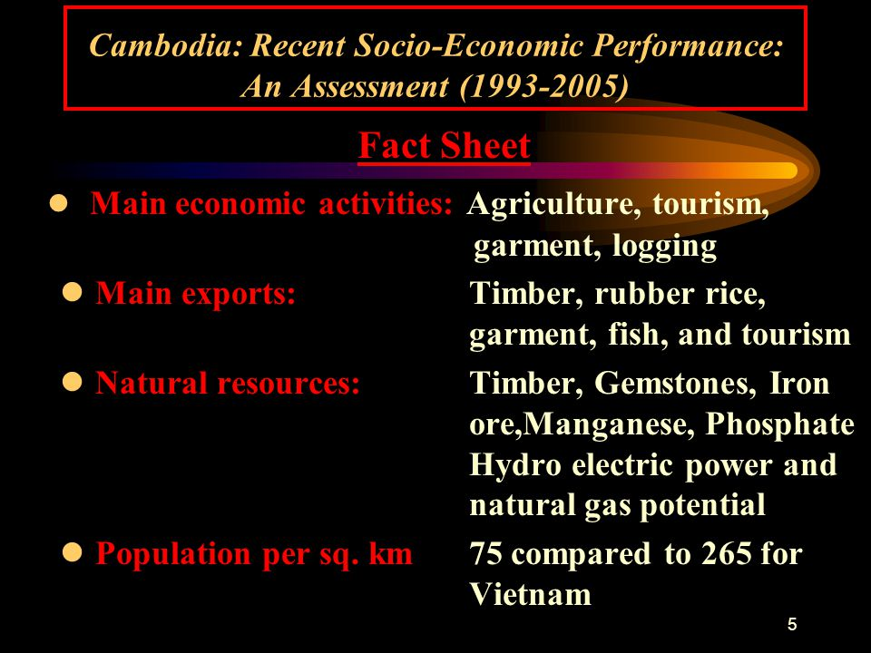 26 Cambodia: Recent Socio-Economic Performance: An Assessment (1993-2005) V.