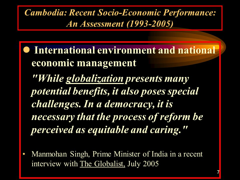 8 Cambodia: Recent Socio-Economic Performance: An Assessment (1993-2005) Outline I.