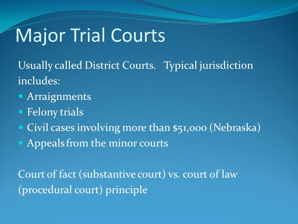 Appellate Courts Handles appeals from the lower courts No jury Generally sit in division Adjudicate the law