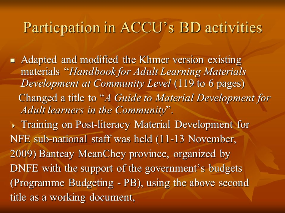 """Adapted and modified the Khmer version existing materials """"Handbook for Adult Learning Materials Development at Community Level (119 to 6 pages) Adapt"""