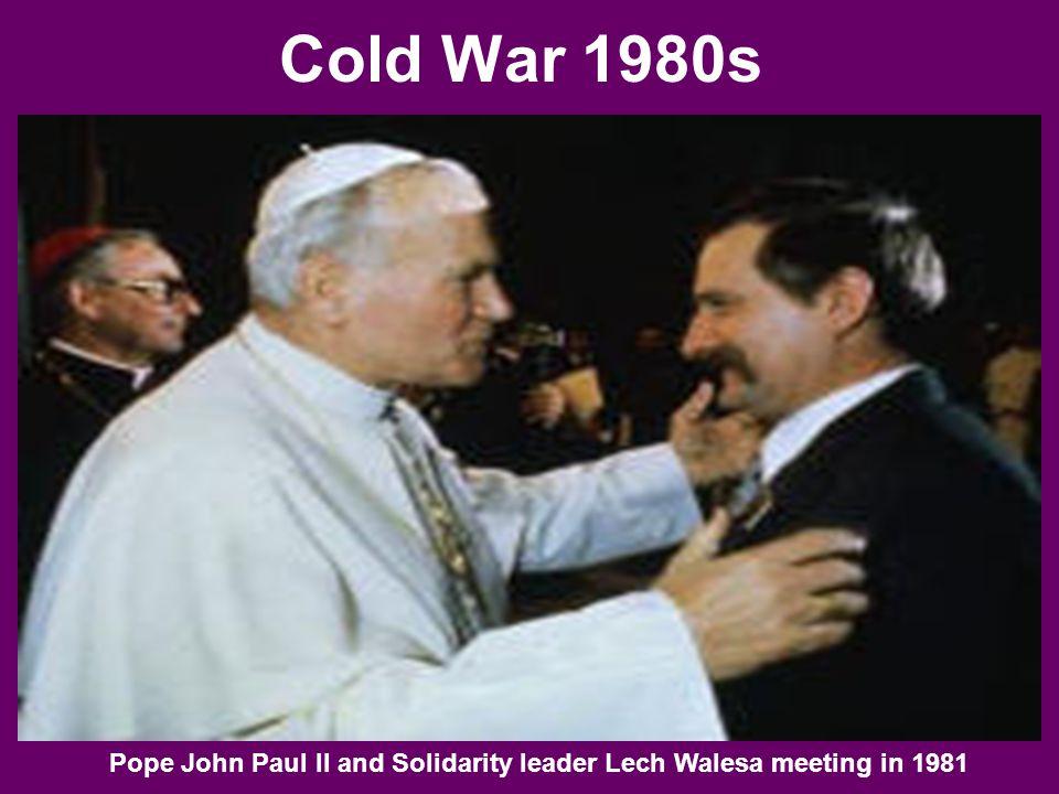 Cold War 1980s Pope John Paul II and Solidarity leader Lech Walesa meeting in 1981